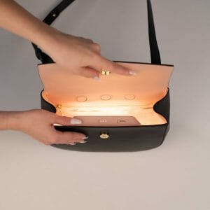 Crossbody bag with light inside
